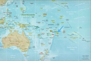 Oceania map with pointer